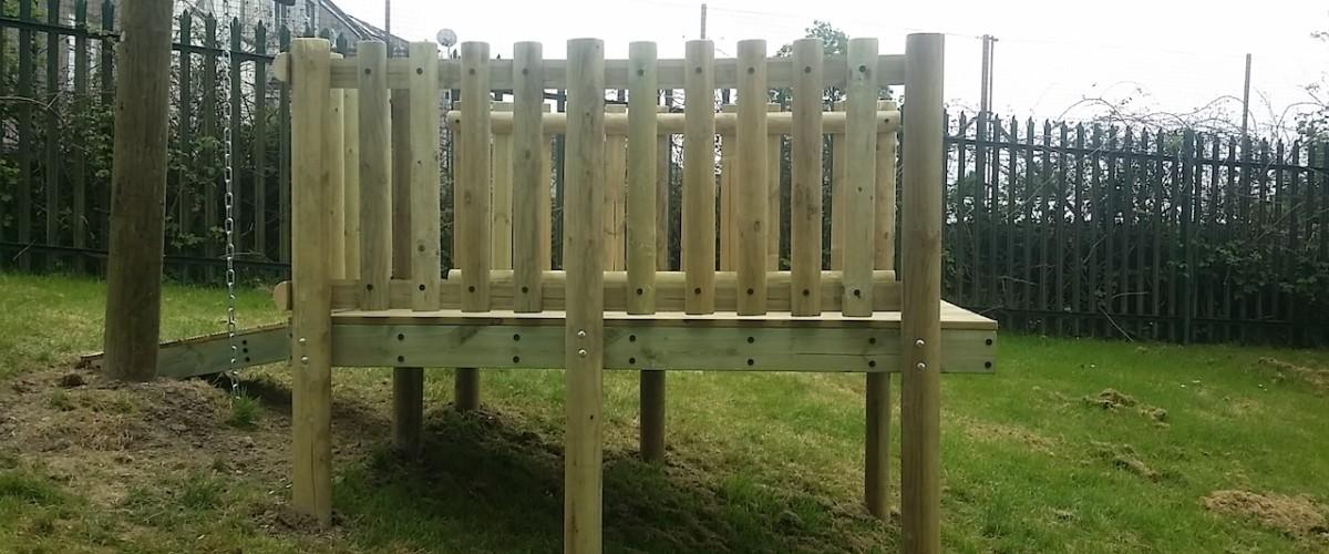 side view of zip wire platform