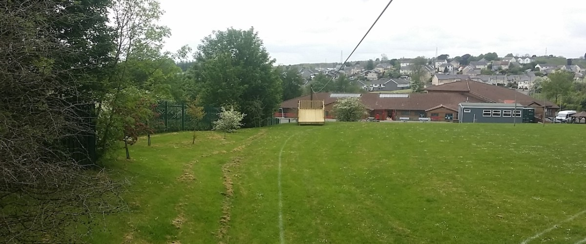 zip wire in playing fields