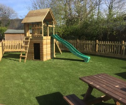 Artificial grass under wooden climbing frames