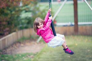 Little girl on zip wire