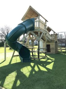 double tower wooden climbing frame