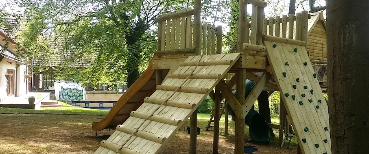 Play Platform with Ramp and Climbing Wall