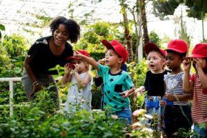 kids exploring nature
